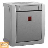 VIKO PACIFIC Накладной Выключатель 1-й с подсветкой Серый