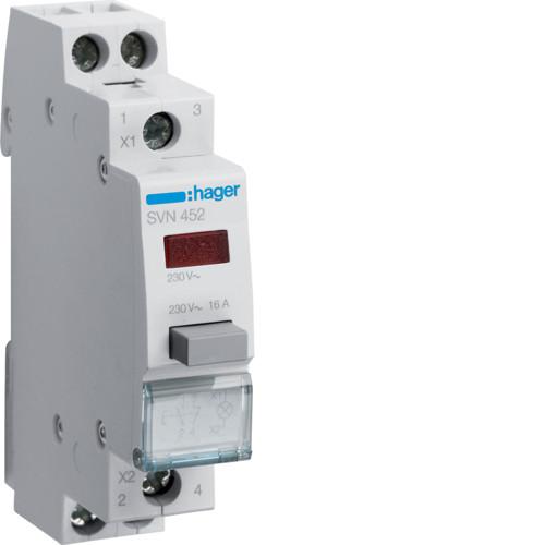 Выключатель кнопочный возвратный с красным индикатором Hager SVN452, 16А, 230В