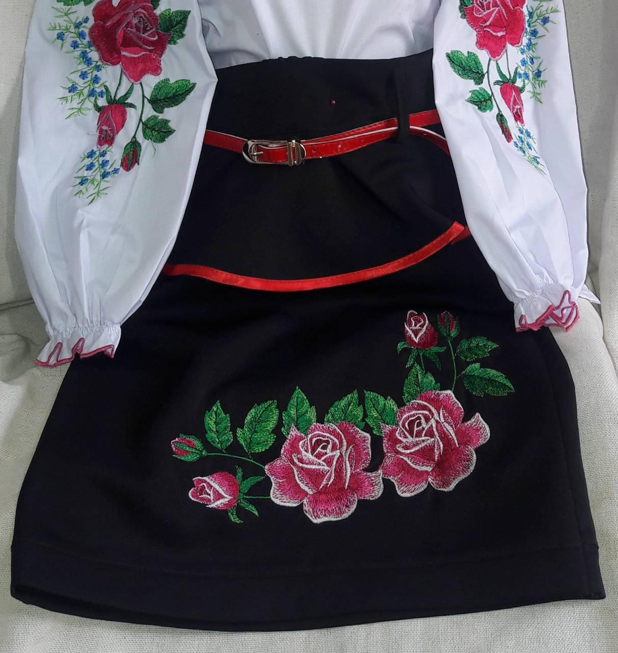 Современная юбка с вышивкой девочке, рост 122-146 см., 260/230 (цена за 1 шт. + 30 гр.)