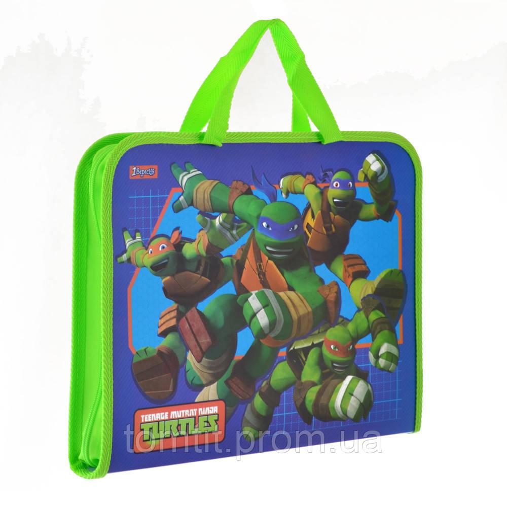 Портфель пластиковый Ninja Turtles  - Черепашки Ниндзя, на молнии с тканевыми ручками, формат А-4