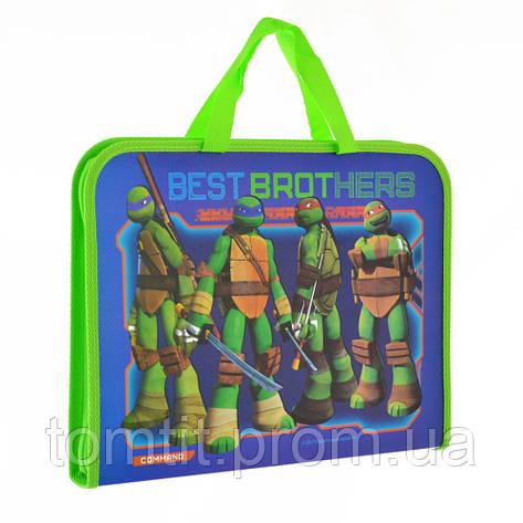 Портфель пластиковый Ninja Turtles  - Черепашки Ниндзя, на молнии с тканевыми ручками, формат А-4, фото 2