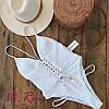 Женский купальник белого цвета на шнуровке спереди. ФК-9-0718. , фото 2