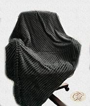 """Плед-покривало з бамбукового волокна """"Shang Hay Смужка графіт (200х230см)"""