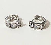 Серьги Xuping Три камешка под серебро