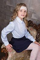 Блуза школьная для девочки с кружевом