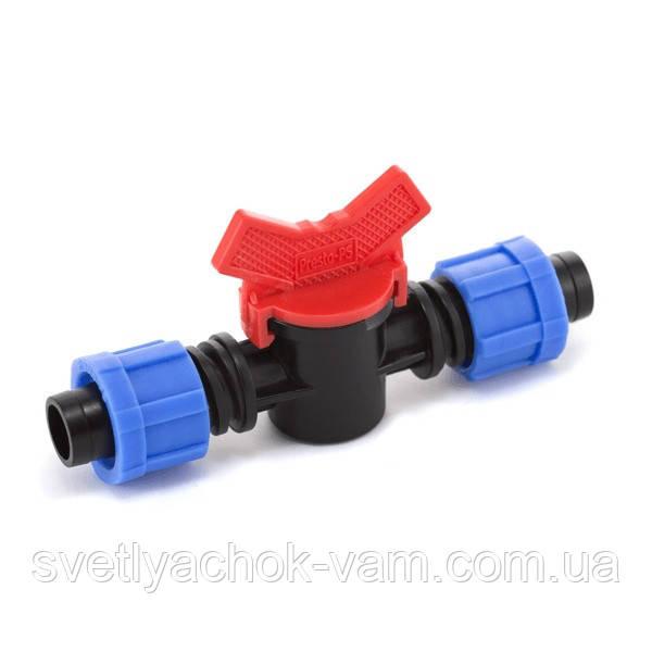 Кран шаровый проходной Presto-PS для капельной ленты 16 мм (LV-0117) для построения систем капельного полива