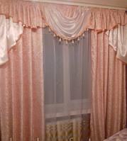 Готовые шторы с ламбрекеном Сандра, персик