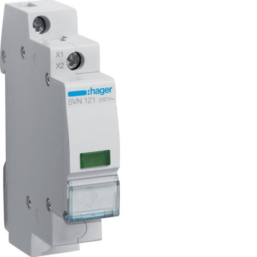 Индикатор LED зелёный Hager SVN121, 230В