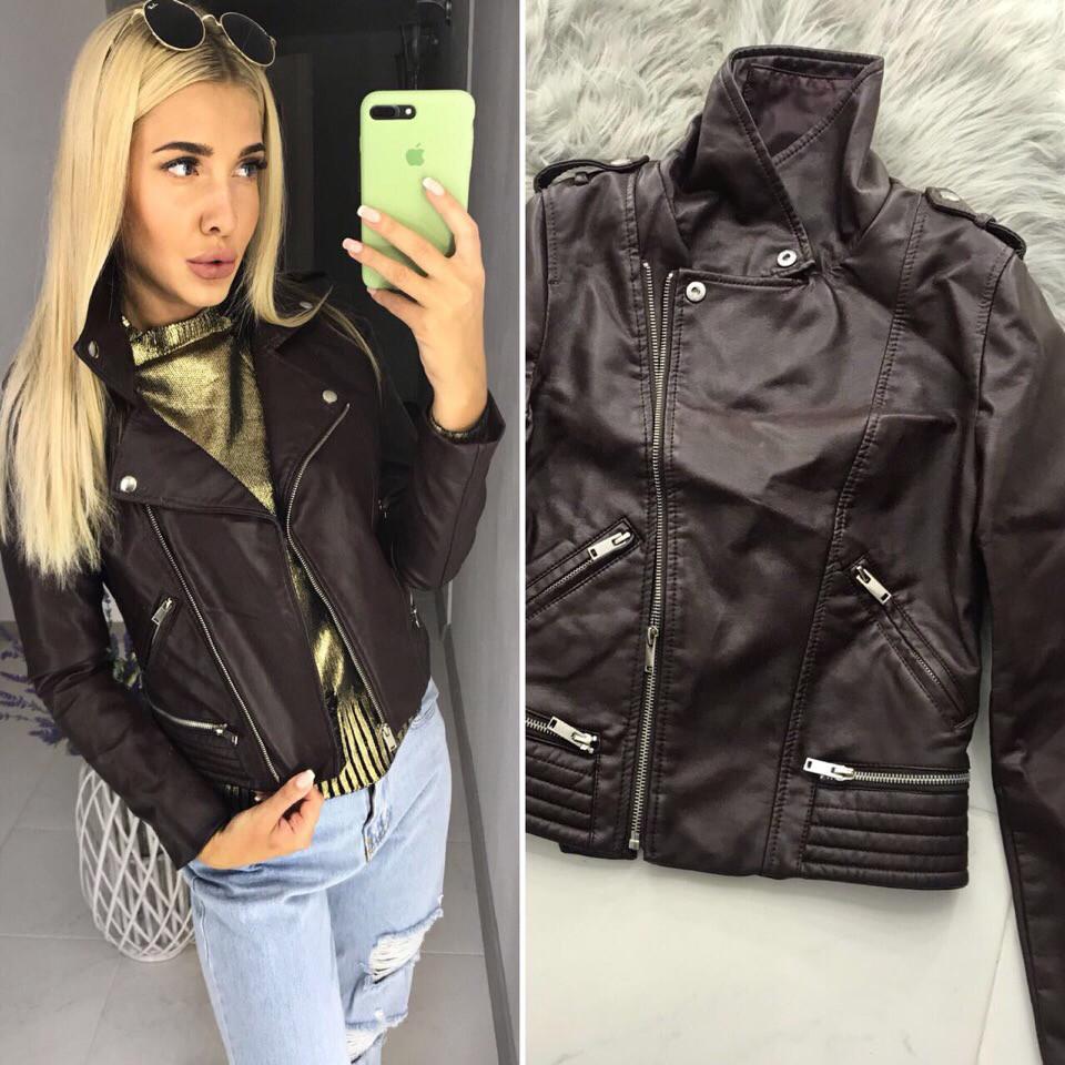 1d157d4ed Женская куртка косуха демисезон на молнии,эко кожа коричневая. - *МОДНЫЙ  BAZAAR*