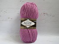 Пряжа для ручного вязания Alize Lanagold цвет 28 роза, полушерстяная пряжа для вязания шапок, свитеров