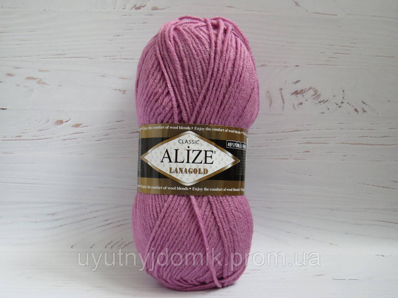 пряжа для ручного вязания Alize Lanagold цвет 28 роза полушерстяная