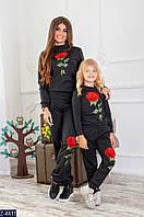 Спортивный костюм детский Роза цвет чёрный и белый  104-110, 110-116, 116-122, 86-92, 92-100 Отличное качество, фото 1