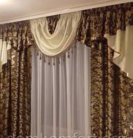 Готовые шторы с ламбрекеном Сандра NEW, коричневые