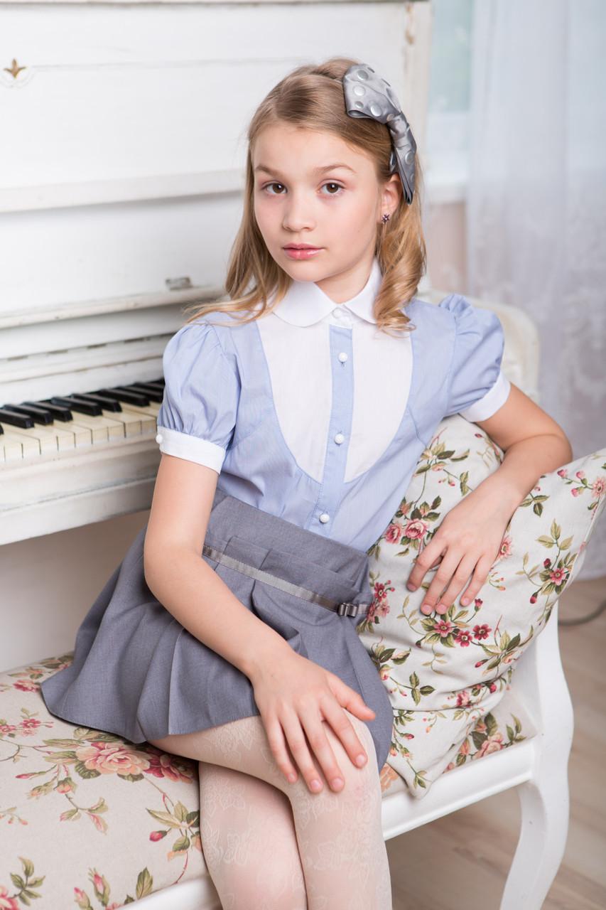 Блуза в школу для девочки голубая