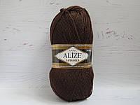 Пряжа для ручного вязания Alize Lanagold цвет 26 коричневый, полушерстяная пряжа для вязания шапок, свитеров