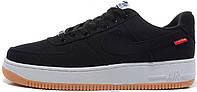 Мужские кроссовки Nike Air Force 1 Low Premium SUPREME Black (Найк Аир Форс 1 Суприм) черные