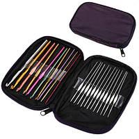 Крючки для вязания алюминиевые с чехлос набор 22 шт | код: 10.03899