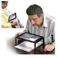 Увеличительное стекло A4, 3x лупа, подсветка | код: 10.02612