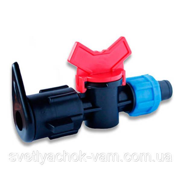 Кран стартовый с поджимом Presto-PS  для шланга LFT (TV-0217) для построения систем капельного полива