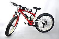 Электровелосипед на двухподвесной раме Ultra Bike BMW на больших колесах красного цвета 250 ВТ