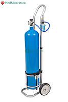 Баллон кислородный с тележкой для транспортировки 10 л с переходником для заправки
