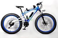 ULTRA BIKE MERCEDES электровелосипед на двухподвесной раме на больших колесах синего цвета 250 вт