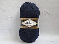 Пряжа для ручного вязания Alize Lanagold цвет 58 темно-синий, полушерстяная пряжа для вязания шапок, свитеров