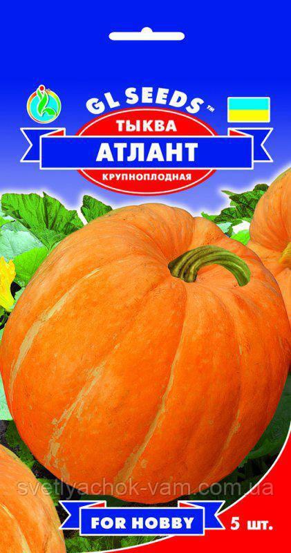 Тыква Атлант крупноплодная позднеспелая мякоть толстая плотная нежная сочная сладкая, упаковка 5 шт