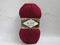 Пряжа для ручного вязания Alize Lanagold цвет 57 бордовый, полушерстяная пряжа для вязания шапок, свитеров