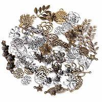 Набор из 100 металлических подвесок шармов шармиков, листья 2000-01947