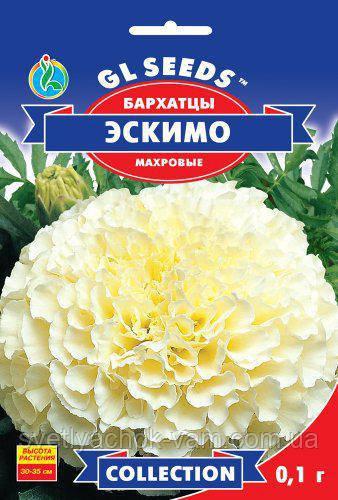 Бархатцы Эскимо интересные своей необычной окраской ванильно-белые соцветия, упаковка 0,1 г