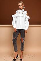 Женская белая блузка с кружевом и воланом (Барбара jd), фото 3