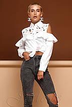 Женская белая блузка с кружевом и воланом (Барбара jd), фото 2