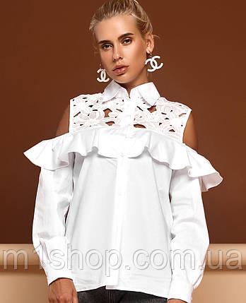 aa6a125d1ec Женская белая блузка с кружевом и воланом (Барбара jd ) купить ...