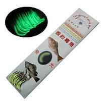 Люминесцентные светящиеся рыболовные крючки с леской 30шт размеры 2000-00782