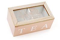 """Деревянная шкатулка для чая """"TEA"""", Коробка для чая деревянная со стеклянной крышкой, цвет - розовый"""