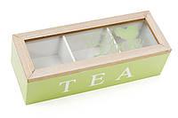 """Деревянная шкатулка для чая """"Tea"""", Коробка для чая деревянная со стеклянной крышкой, цвет - яблочный"""