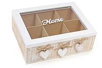 Деревянная шкатулка для чая, Коробка для чая деревянная (6 отделений) со стеклянной крышкой Home