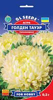 Астра Голден Тауэр пионовидная крупноцветковая срезочный сорт соцветия густо махровые, упаковка 0,3 г