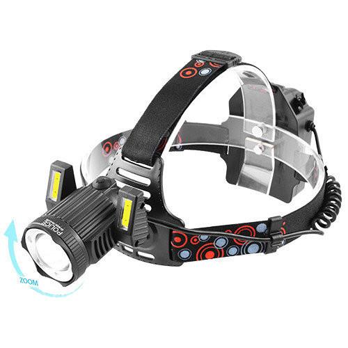 Налобный фонарь Bailong RJ-6000-T6+2*COB ZOOM Micro USB