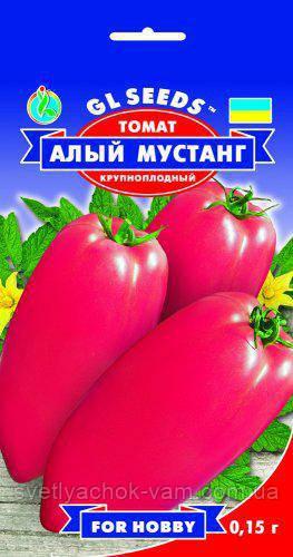 Томат Червоний Мустанг сорт оригінальний великоплідний середньостиглий м'ясистий смачний, упаковка 0,15 г