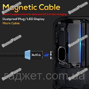 Кабель магнитный USB TOPK черного цвета. Кабель Micro USB.USB-кабель , фото 2