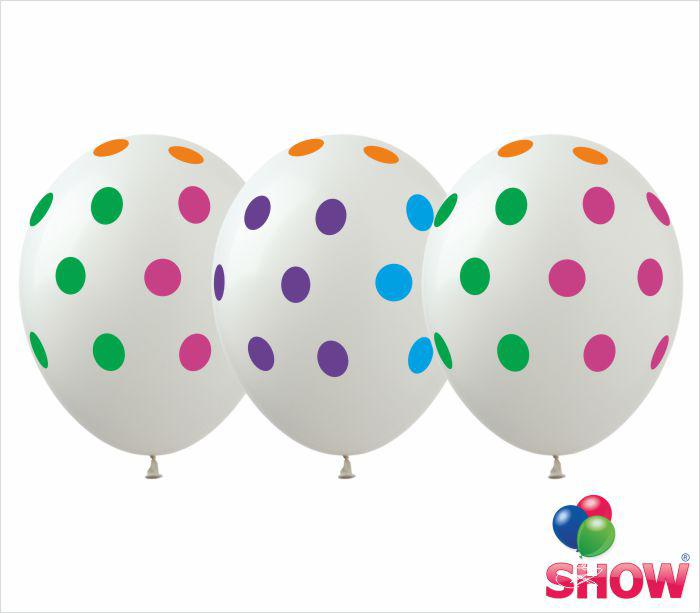 """Воздушные шары """"Горох цветной на белом"""" 12""""(30 см) пастель ассорти В упак: 100шт ТМ Арт «SHOW» GR-5"""