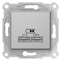 Розетка 2-я USB - 2,1A алюминий Sedna SDN2710221
