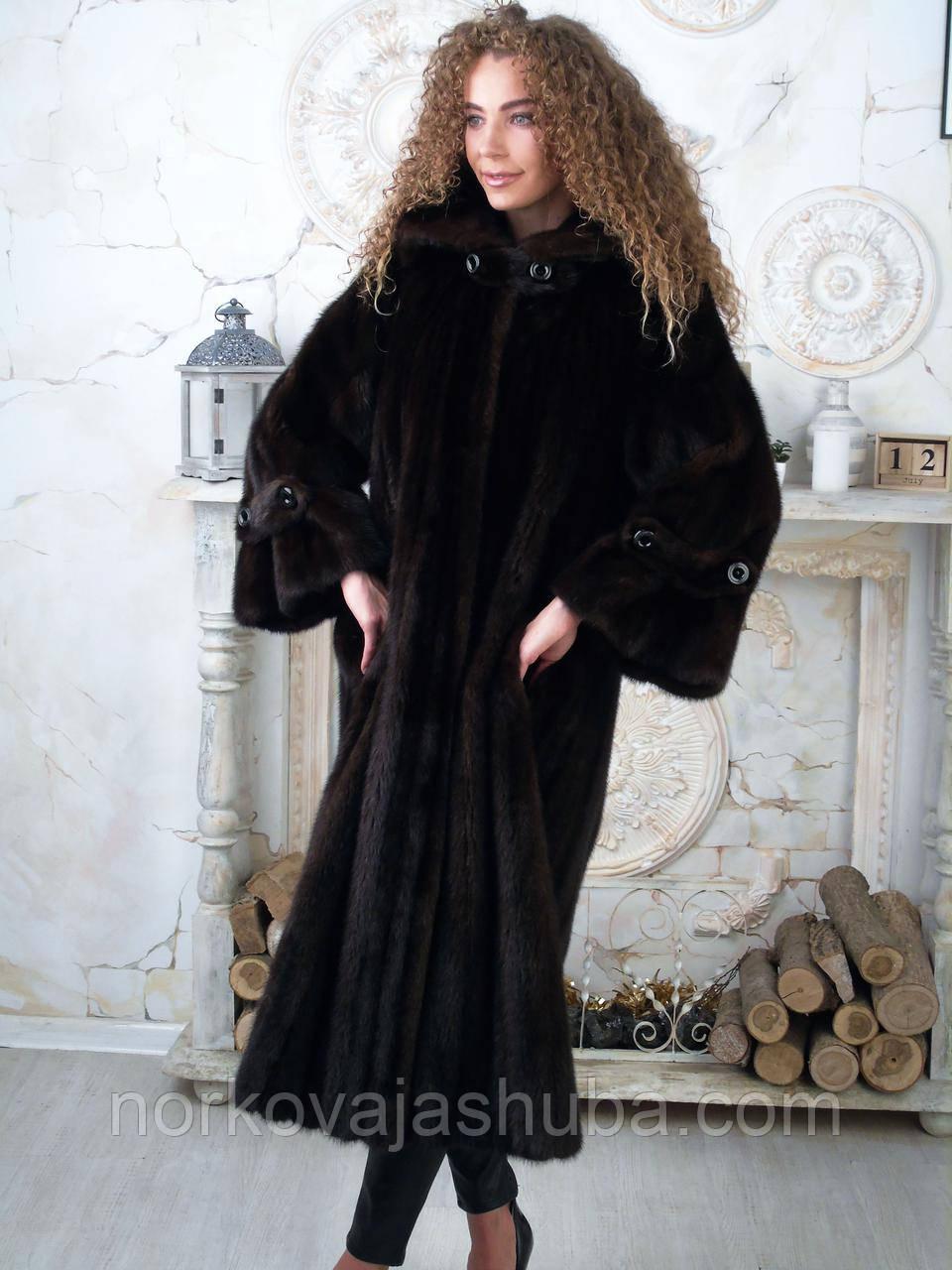 Норкова шуба довга жіноча 46 48 розміри