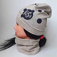 Детская трикотажная шапка с хамутом р 3-8 лет оптом, фото 1
