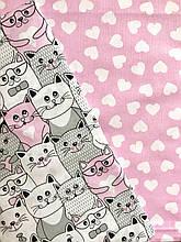"""Детское постельное белье """"Котики с сердечками"""" розовое (100 % хлопок)"""