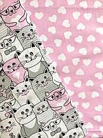 """Постельное белье полуторное """"Котики с сердечками"""" розовое (100 % хлопок)"""