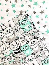 """Постельное белье полуторное """"Котики со звездами"""" мятное (100 % хлопок)"""