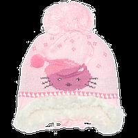 Детская вязаная шапочка с завязками на подкладке из овчины, ТМ Ромашка, р. 46-48